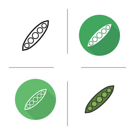 pea pod: Pea pod flat design, linear and color icons set. concept. Isolated open pea pod illustrations Illustration