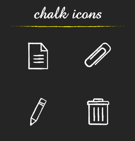 editor: File editor chalk icons set. New text document, attachment clip symbol, pencil edit button, trash bin. App interface elements icons. White illustrations on blackboard. Vector concepts