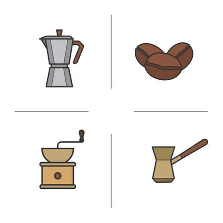 brewing: Coffee color icons set. Classic coffee maker, Turkish cezve, roasted coffee beans and vintage grinder symbols. Coffee brewing moka machine. concepts. Vector isolated illustrations Illustration