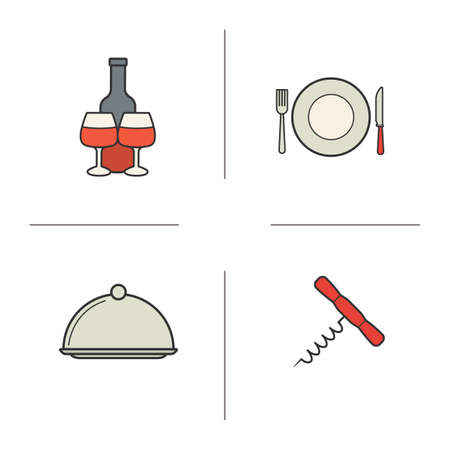 table knife: Kitchen items color icons set. Wine bottle opener and dish. Fork, plate and table knife. Red wine bottle and glasses. Cutlery. Kitchen equipment. concepts. Vector isolated illustrations