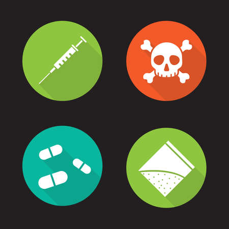 substances: Drugs flat design long shadow icons set. Medical syringe, skull and crossbones. Pills and cocaine packet. Drugs abuse. Human death. Narcotic substances.  concepts. Vector illustrations Illustration