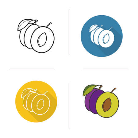 halved: Plum flat design, linear and color icons set. Plum symbol in different styles. Halved plum icons. Sweet juicy fruit. Long shadow concept. Plum isolated vector illustrations. Infographic elements Illustration