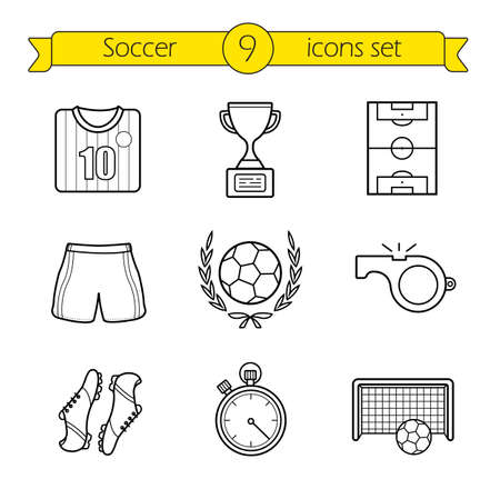 playing field: Soccer linear icons set. Football player�s kit. Soccer shirt, shorts and boots. Playing field, soccer ball and goal thin line illustrations. Contour symbols. Vector isolated outline drawings