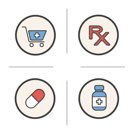 prescription bottle: Pharmacy color icons set. Drugstore cart with cross and capsule. Medical prescription and bottle of tablets. Treatment pharmaceutical items. concepts. Vector isolated illustrations