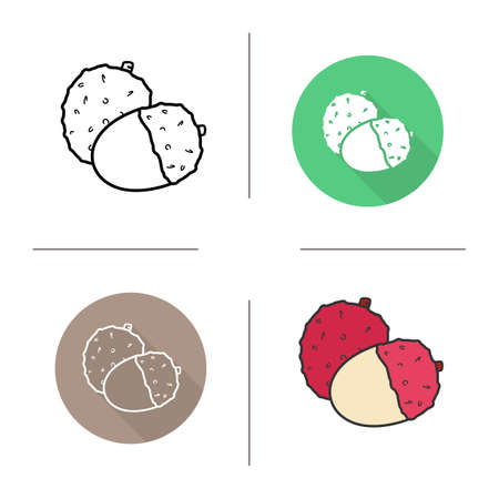 lichee: Lychee flat design, linear and color icons set. Ripe lichee icons. Sweet tropical fruit. Organic food. Long shadow concept. Isolated liechee vector illustrations. Infographic elements