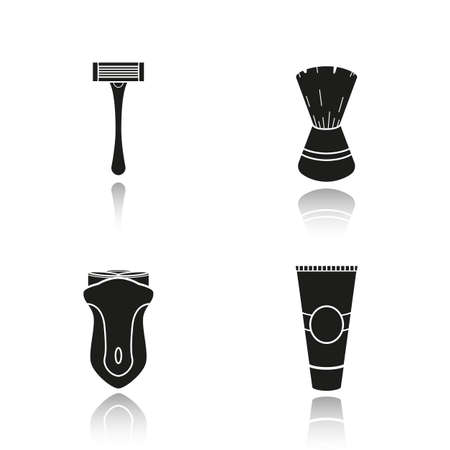 Mens shaving accessories drop shadow icons set. Shaving razor, shaving brush, electric shaver and aftershave cream. Facial hair grooming kit. Barbershop equipment. concepts. Vector illustration Illustration