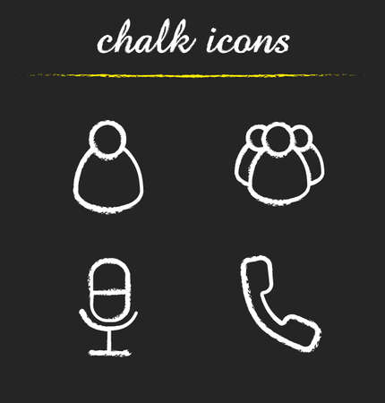 interface buttons: Online conference chalk icons set. Private and group messaging. Remote meeting app ui. Microphone and handset symbols. User interface buttons. White illustrations on blackboard. Vector concepts Illustration