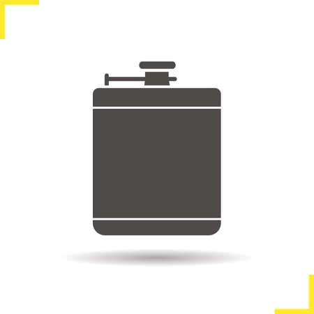 hip flask: Hip flask icon. Drop shadow alcohol flask silhouette symbol. Mens drinking accessory. Isolated black illustration. concept. Vector