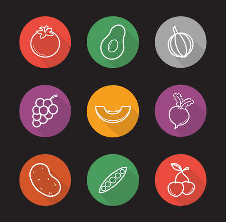 Fruit and vegetables flat linear long shadow icons set. Seasonal agricultural plants. Tomato and grapes. Sliced melon, pea pod and cherries. Outline concepts. Vector line art illustrations Illustration