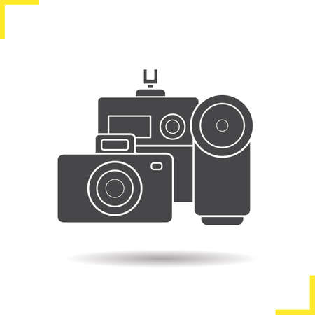 slr: Digital camera icon. Drop shadow silhouette symbol. Slr, video and action cameras. Optical equipment isolated black illustration. concept. Vector Illustration