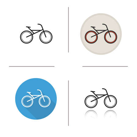 driven: Bicycle flat design, linear and color icons set. Sport bike icons. Pedal driven vehicle. Sport transportation. Long shadow concept. Isolated bicycle vector illustrations. Infographic elements
