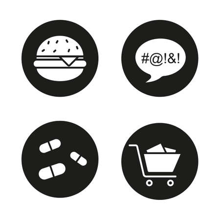cursing: Bad habits black icons set. Obesity, dirty language, pills and compulsive buying disorder symbols. Fastfood, drugs, shopping cart and swearing. Addictions. White illustrations. Vector concepts