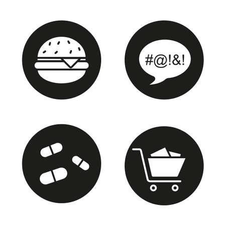 compras compulsivas: establecen los malos hábitos iconos negros. La obesidad, el lenguaje sucio, pastillas y símbolos trastorno de compra compulsiva. De comida rápida, las drogas, carrito de la compra y toma de posesión. Adicciones. ilustraciones en blanco. conceptos de vectores