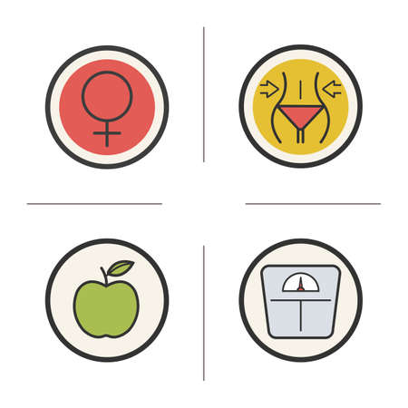 slimming: Weight loss diet color icons set. Slimming and apple nutrition symbols. Venus emblem and floor scale. Female organism symbol. Slim and healthy body. concepts. Vector isolated illustrations Illustration
