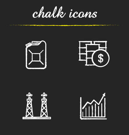 oil and gas industry: Oil industry chalk icons set. Petrol can and oil barrel. Diagram and oil rig icons. Petroleum trade. Oil and gas industry. White illustrations on blackboard. Vector chalkboard concepts Illustration