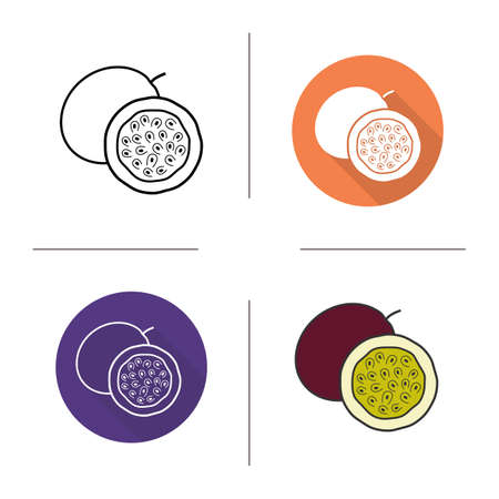 passion fruit: Passionfruit flat design, linear and color icons set. Passion fruit in different styles. Tropical fruit. Long shadow concept. Passionfruit isolated vector illustrations. Infographic elements