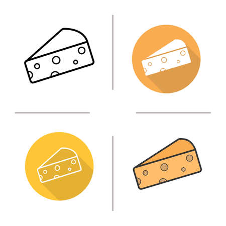 porous: Cheese flat design, linear and color icons set. Hard porous cheese piece. Dairy produce. Milk food product. Long shadow concepts. Isolated vector illustrations. Infographic elements