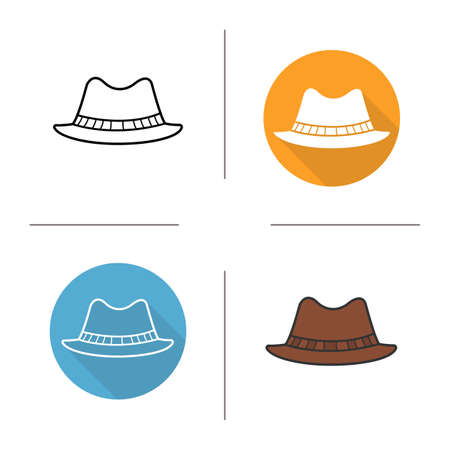 formal attire: Classic mens hat flat design, linear and color icons set. Homburg in different styles. Male formal attire hat. Long shadow concept. Isolated hat vector illustrations. Infographic elements