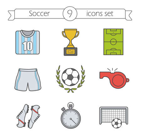 soccer uniform: Soccer color icons set. Football player%u2019s kit. Soccer uniform shirt; shorts and boots. Playing field, referee whistle, championship cup and stopwatch. concepts. Vector isolated illustrations