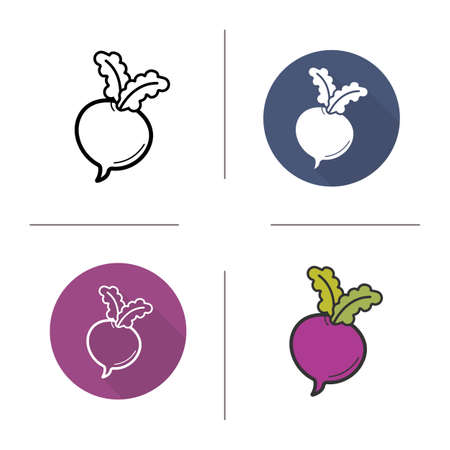 turnip: Beetroot flat design, linear and color icons set. Fresh sugar-beet and turnip with green leaves. Seasonal vegetables. Long shadow concepts. Isolated vector illustrations. Infographic elements