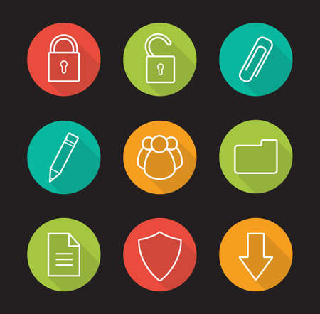 multimedia icons: File management flat linear long shadow icons set. Data storage interface buttons. New document, folder, download arrow, lock and unlock multimedia icons. Outline concepts. Vector illustrations Illustration