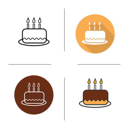 icing: Birthday cake flat design, linear and color icons set. Holiday sweet cake with icing and candles. Pastry product. Long shadow concept. Isolated cake vector illustrations. Infographic elements