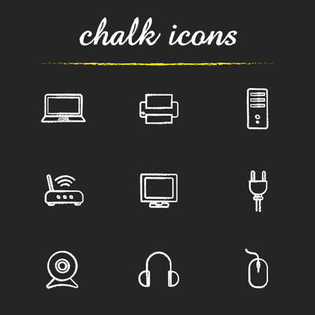 tv unit: Electronic equipment chalk icons set. Household electronic appliances. Laptop, printer and headphones. Router and system unit. White illustrations on blackboard.
