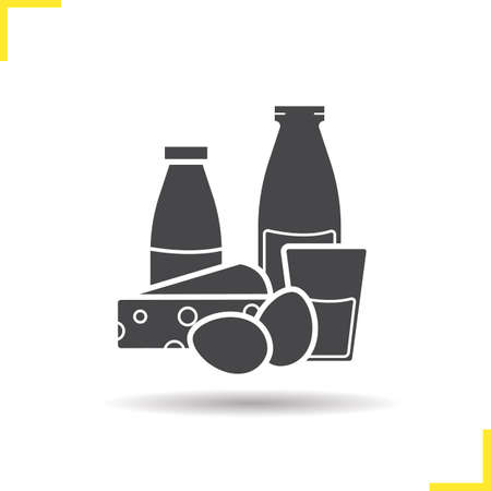 dairy products: Dairy products icon. Drop shadow silhouette symbol. Glass and bottle of milk, eggs, cheese and yogurt. Isolated black illustrations.