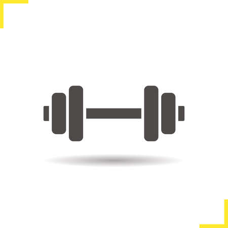 weightlifting equipment: Gym icon. Drop shadow dumbbell icon. Bodybuilding and weightlifting sport equipment. Isolated black illustration. Illustration