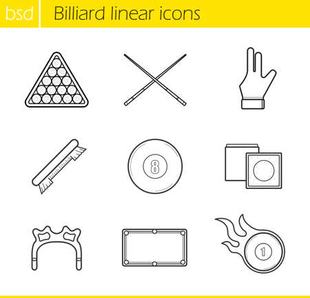 bola ocho: Billiard accessories linear icons set. Cuesports equipment. Ball rack, billiard glove and eight ball. Billiard brush and burning ball. Thin line illustrations. Vector isolated outline drawings