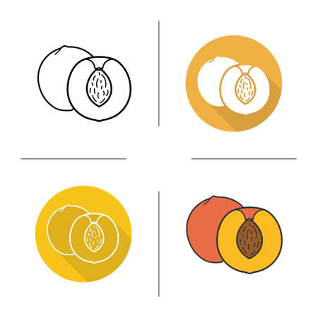 nectarine: Peach flat design, linear and color icons set. Ripe sliced peach icons. Sweet tropical fruit. Organic food. Long shadow concept. Isolated peach vector illustrations. Infographic elements
