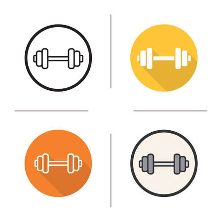weightlifting equipment: Gym dumbbell flat design, linear and color icons set. Bodybuilding and weightlifting equipment. Long shadow concept. Isolated gym barbell vector illustrations. Infographic elements Illustration