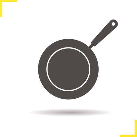 Frying pan icon. Drop shadow pictogram. Isolated skillet black illustration. Frying pan concept. Vector silhouette icon