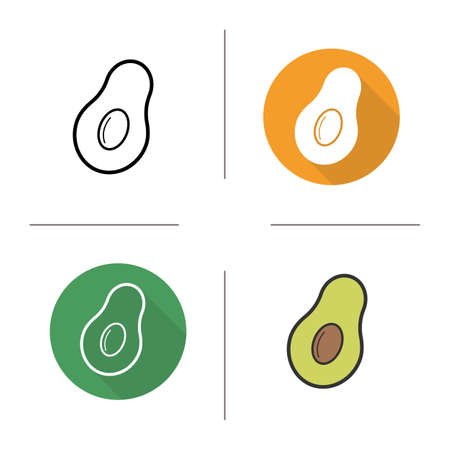 halved: Avocado flat design, linear and color icons set. Exotic tropical fruit. Halved green ripe avocado with seed. Contour and long shadow concepts. Isolated vector illustrations. Infographic elements Illustration