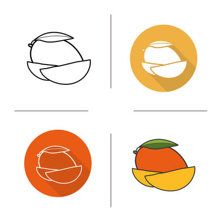halved: Mango flat design, linear and color icons set. Sliced mango pictograms. Long shadow concept. Isolated vector illustrations