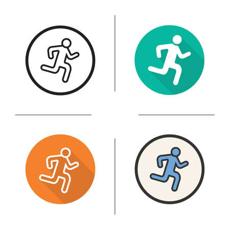 sprinter: Runner flat design, linear and color icons set. Sprinter in different styles. Sport activity symbols. Long shadow concept. Isolated runner vector illustrations. Infographic elements