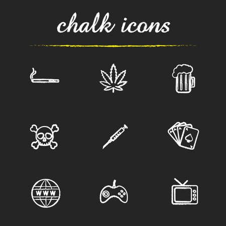 alcohol abuse: Human addictions chalk icons set. Bad habits. Drug and alcohol abuse. Cigarette, glass of beer and marijuana leaf.  Internet and tv. White illustrations on blackboard. Vector chalkboard  concepts Illustration