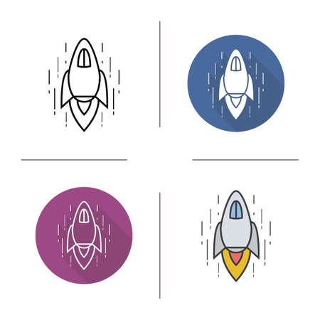 rocketship: Spaceship flat design, linear and color icon set. Rocket flying in space. Space shuttle. concept. Isolated illustration. Goal achievement concept