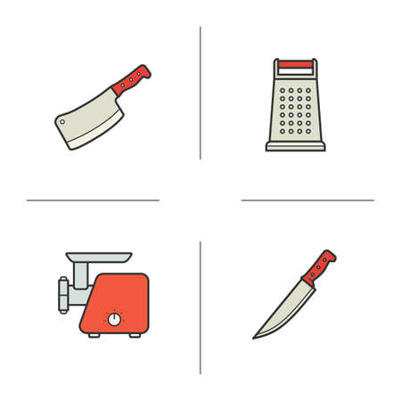 meat chopper: Kitchen equipment color icons set. Cleaver and stainless grater icons. Electronic meat grinder and chef knife symbols. Culinary instruments. concepts. Vector isolated illustrations
