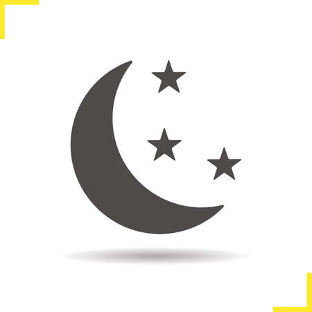 astronomical: Night icon. Drop shadow moon and stars pictogram. Astronomical phenomenon. Bedtime. Isolated black illustration. concept. Vector silhouette symbol