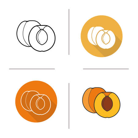 halved: Apricot flat design, linear and color icons set. Apricot fruit in different styles. Halved apricot icons. Long shadow concept. Isolated vector apricot illustrations. Infographic elements