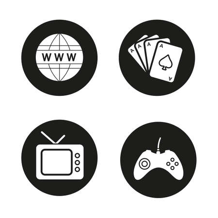 cards deck: Addictions and bad habits black icons set. Game console joystick, www network symbol, playing cards deck and retro tv. Internet and gambling addictions. White illustrations. Vector  concepts Illustration