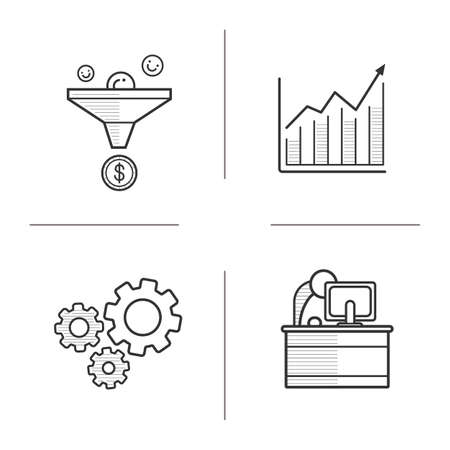 line drawings: Business linear icons set. Sales funnel and growth chart icons. Cog wheels and office worker. Business symbols. Thin line illustrations. Contour symbol. Vector isolated outline drawings