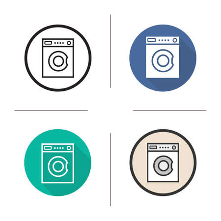 washer: Washing machine flat design, linear and color icons set. Washer in different styles. Household electronic appliance. Long shadow concept. Isolated vector illustrations. Infographic elements