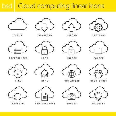 line drawings: Cloud computing linear icons set. Download, upload, settings and preferences symbols. Lock, unlock and folder icons. Internet computing. Thin line illustrations. Vector isolated outline drawings