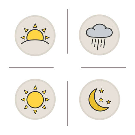 moonrise: Weather color icons set. Sunrise and cloud with rain. Sun, moon and stars. Sunny and rainy weather. Sunrise and moonrise icons. Meteorology symbols. concepts. Vector isolated illustrations Illustration