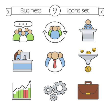 conference speaker: Business color icons set. Work and business icons. Team communication, sales funnel and office worker. Conference speaker podium and growth chart. concepts. Vector isolated illustrations Illustration