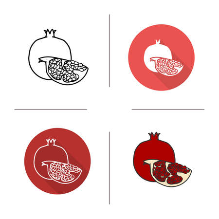 garnet: Pomegranate flat design, linear and color icons set. Ripe sliced pomegranate icons. Sweet tropical fruit. Long shadow concept. Isolated garnet vector illustrations. Infographic elements Illustration
