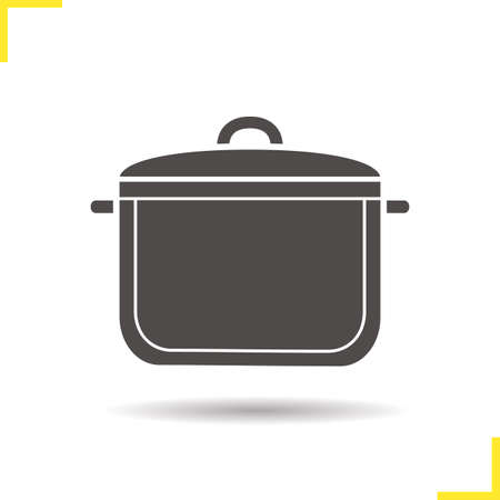 casserole: Pot icon. Drop shadow saucepan pictogram. Stewpot isolated black illustration. Casserole concept. Vector silhouette symbol Illustration