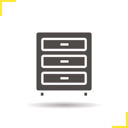 drawers: Dresser icon. Drop shadow chest of drawers silhouette symbol. Modern house furniture item. Dresser  concept. Vector chest of drawers isolated illustration Illustration